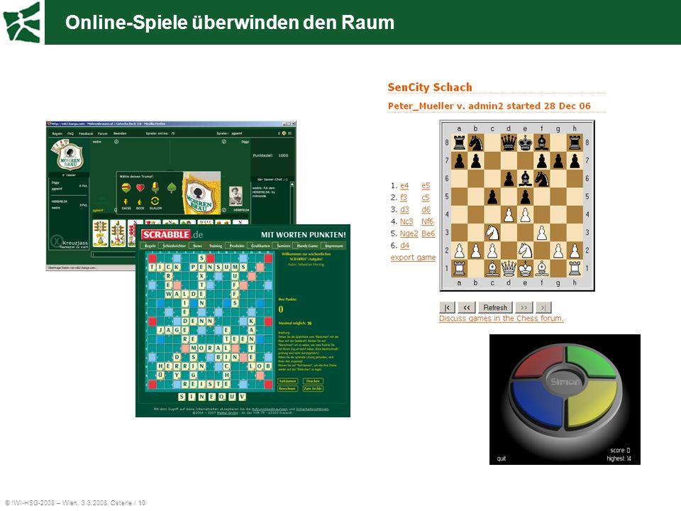 © IWI-HSG-2008 – Wien, 3.3.2008, Österle / 10 Online-Spiele überwinden den Raum