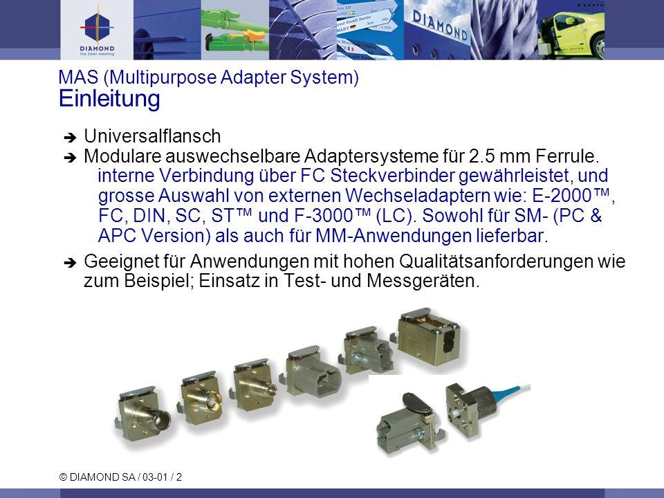 © DIAMOND SA / 03-01 / 2 MAS (Multipurpose Adapter System) Einleitung Universalflansch Modulare auswechselbare Adaptersysteme für 2.5 mm Ferrule. inte