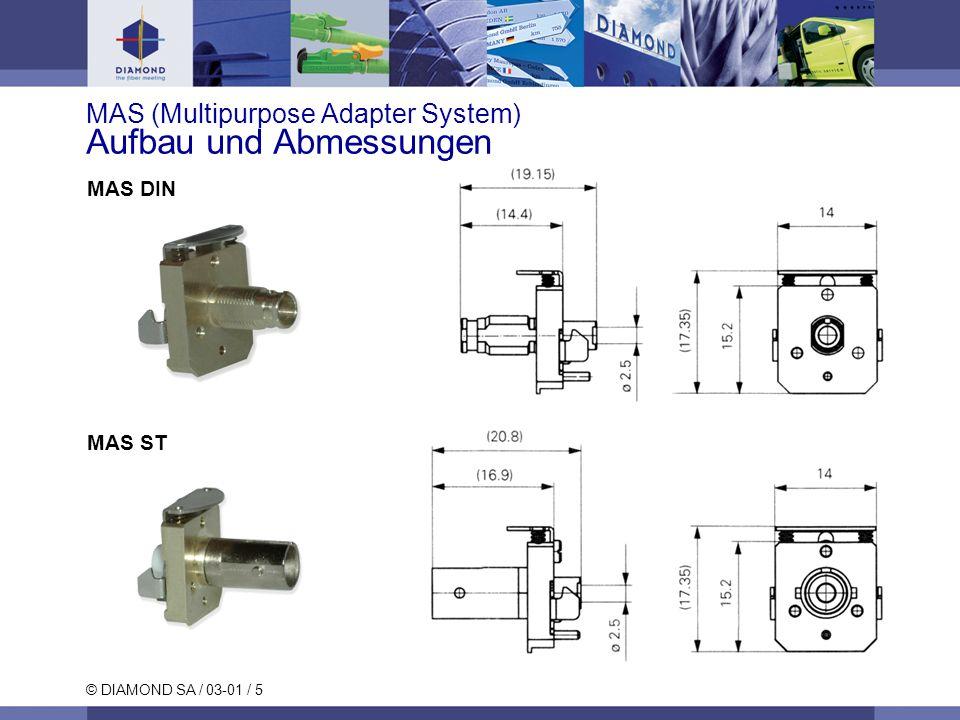 © DIAMOND SA / 03-01 / 6 MAS (Multipurpose Adapter System) Aufbau und Abmessungen MAS F-3000