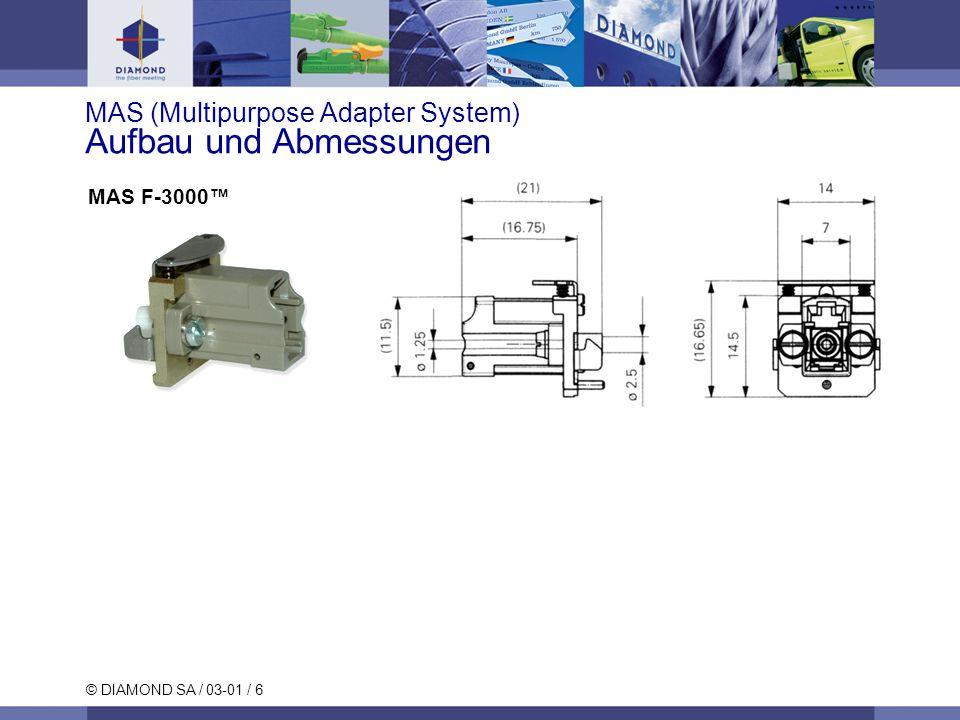 © DIAMOND SA / 03-01 / 7 MAS (Multipurpose Adapter System) Neue Artikelnummern Artikelnummern und Bezeichnungen EDF 1022898MAS Universalflansch EDF 1023701MAS E-2000 EDF 1023681MAS SC EDF 1023677MAS FC (2.2 mm Verdrehsicherung) EDF 1023678MAS FC (2 mm Verdrehsicherung) EDF 1023676MAS DIN EDF 1018981MAS ST EDF 1023682MAS F-3000