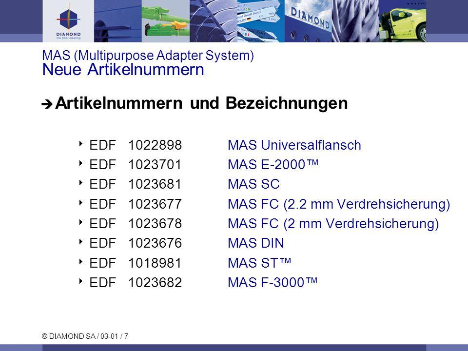 © DIAMOND SA / 03-01 / 8 MAS (Multipurpose Adapter System) Typische Werte MMSM 0° PCSM 8° APC Einheit Einfügedämpfung (IL)*max.