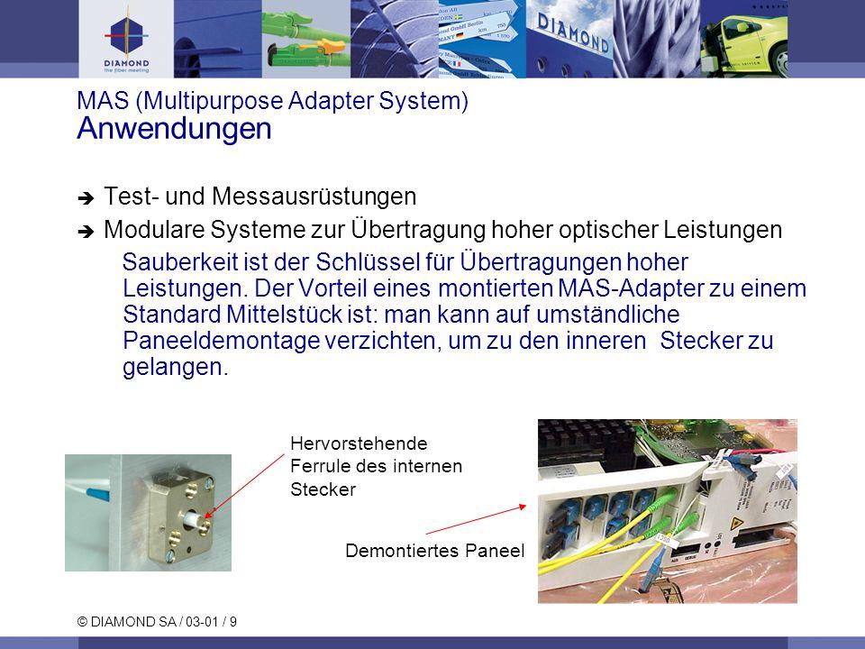 © DIAMOND SA / 03-01 / 9 MAS (Multipurpose Adapter System) Anwendungen Test- und Messausrüstungen Modulare Systeme zur Übertragung hoher optischer Lei