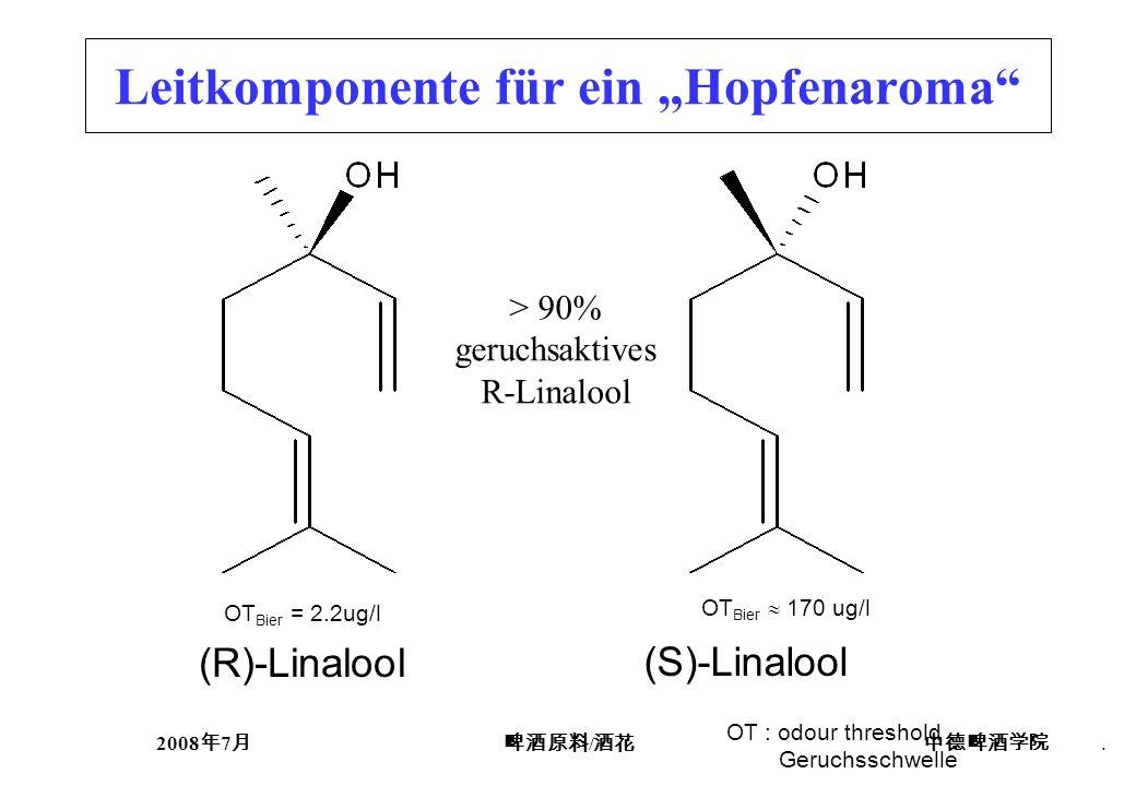2008 7 /. (R)-Linalool (S)-Linalool Leitkomponente für ein Hopfenaroma > 90% geruchsaktives R-Linalool OT Bier = 2.2ug/l OT Bier 170 ug/l OT : odour t