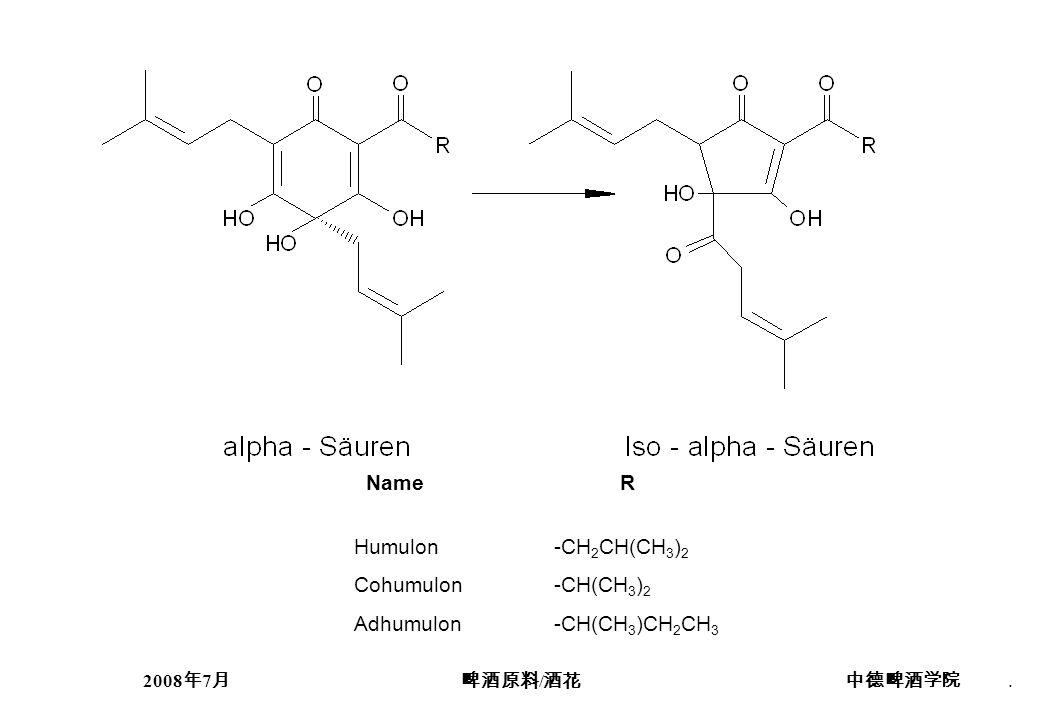 2008 7 /. Name R Humulon-CH 2 CH(CH 3 ) 2 Cohumulon-CH(CH 3 ) 2 Adhumulon-CH(CH 3 )CH 2 CH 3