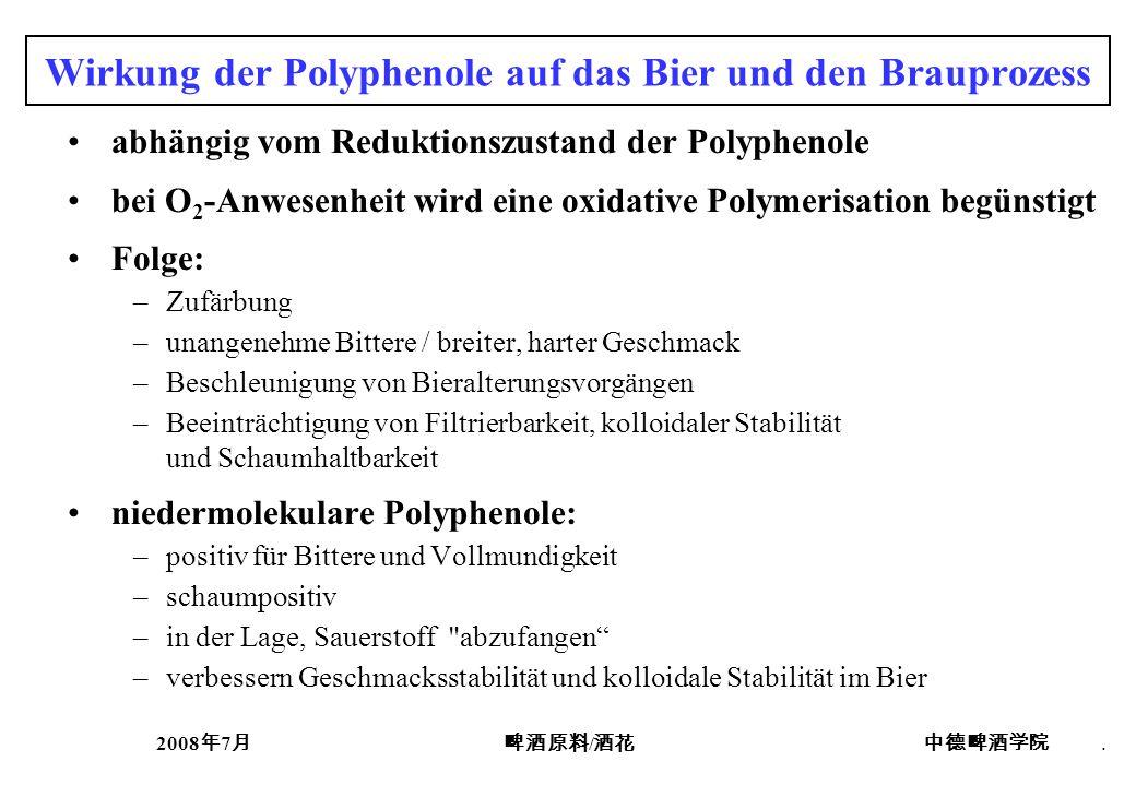 2008 7 /. Wirkung der Polyphenole auf das Bier und den Brauprozess abhängig vom Reduktionszustand der Polyphenole bei O 2 -Anwesenheit wird eine oxida