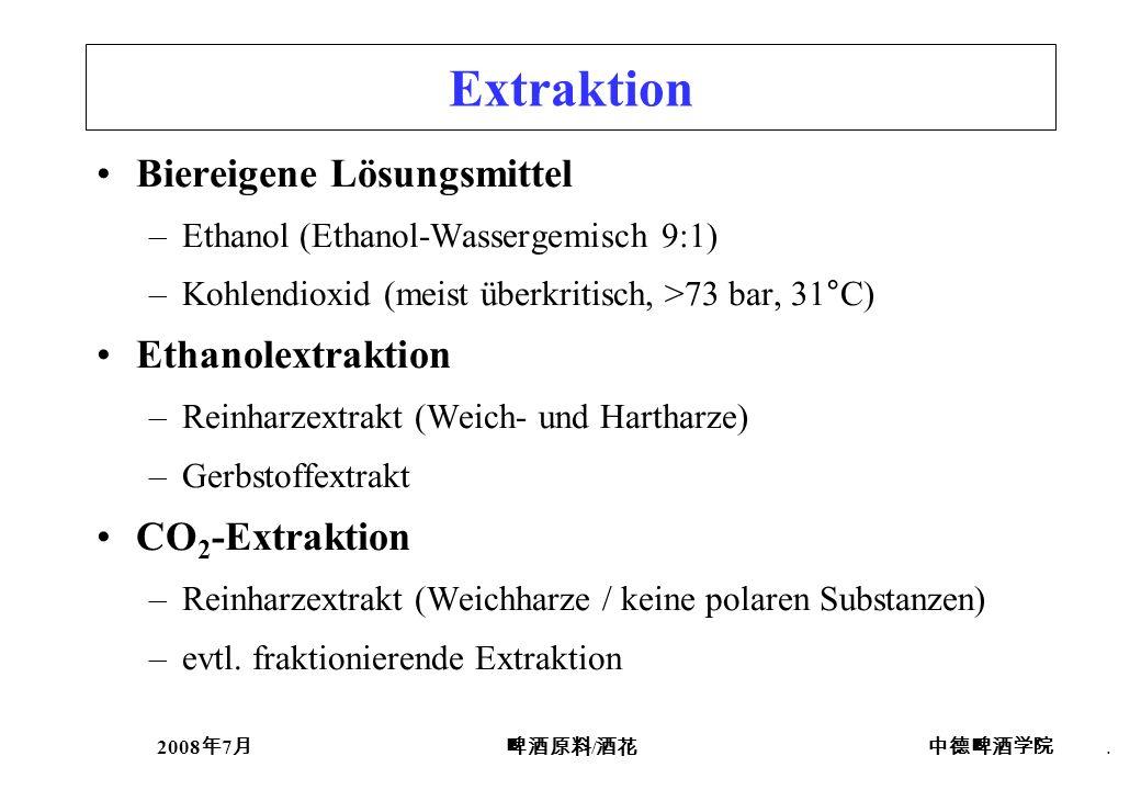 2008 7 /. Extraktion Biereigene Lösungsmittel –Ethanol (Ethanol-Wassergemisch 9:1) –Kohlendioxid (meist überkritisch, >73 bar, 31°C) Ethanolextraktion