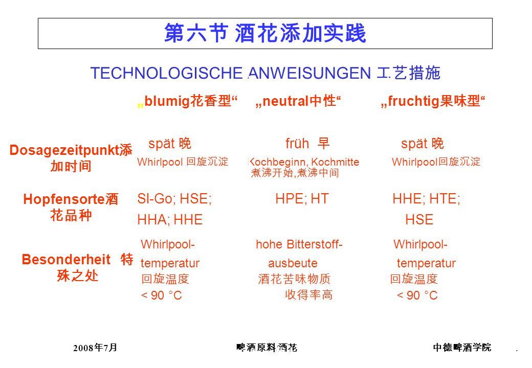 2008 7 /. TECHNOLOGISCHE ANWEISUNGEN blumig neutral fruchtig spät früh spät Whirlpool Kochbeginn, Kochmitte Whirlpool, Sl-Go; HSE; HPE; HT HHE; HTE; H