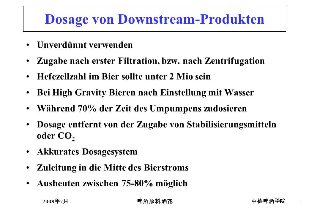 2008 7 /. Dosage von Downstream-Produkten Unverdünnt verwenden Zugabe nach erster Filtration, bzw. nach Zentrifugation Hefezellzahl im Bier sollte unt