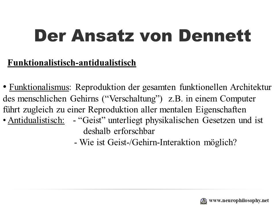 Der Ansatz von Dennett Funktionalismus: Reproduktion der gesamten funktionellen Architektur des menschlichen Gehirns (Verschaltung) z.B. in einem Comp
