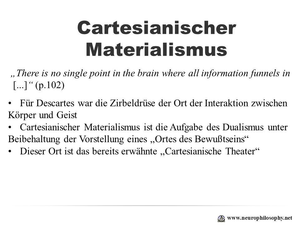 Cartesianischer Materialismus www.neurophilosophy.net Für Descartes war die Zirbeldrüse der Ort der Interaktion zwischen Körper und Geist Cartesianisc
