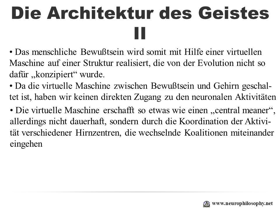 Die Architektur des Geistes II www.neurophilosophy.net Das menschliche Bewußtsein wird somit mit Hilfe einer virtuellen Maschine auf einer Struktur re