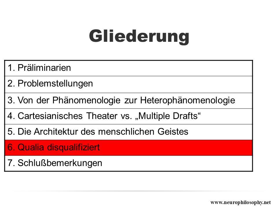 Gliederung 1. Präliminarien 2. Problemstellungen 3. Von der Phänomenologie zur Heterophänomenologie 4. Cartesianisches Theater vs. Multiple Drafts 5.