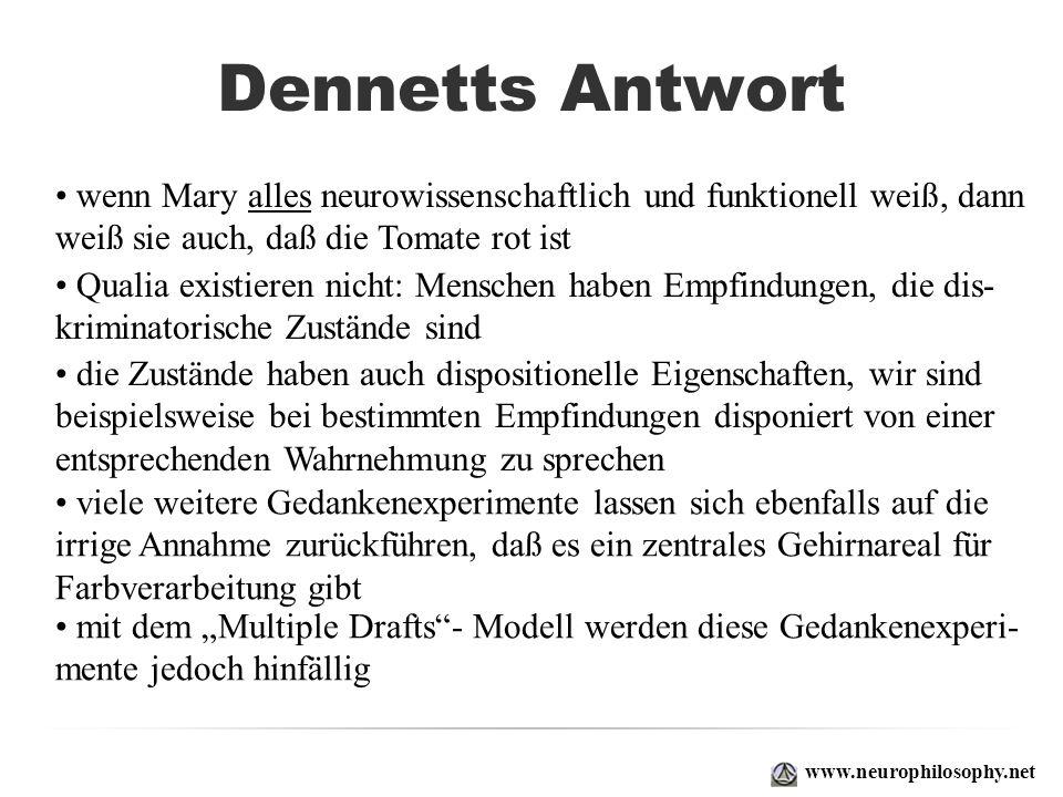 Dennetts Antwort www.neurophilosophy.net wenn Mary alles neurowissenschaftlich und funktionell weiß, dann weiß sie auch, daß die Tomate rot ist Qualia