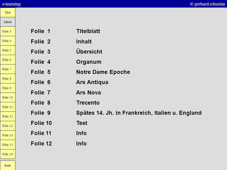 e-learning © gerhard schurian Titel Inhalt Folie 3 Folie 6 Folie 7 Folie 4 Folie 5 Folie 10 Folie 9 Folie 8 Ende Folie 11 Folie 12 Folie 13 Folie 14 F