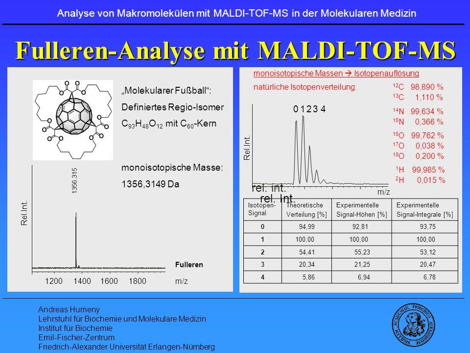 Andreas Humeny Lehrstuhl für Biochemie und Molekulare Medizin Institut für Biochemie Emil-Fischer-Zentrum Friedrich-Alexander Universität Erlangen-Nürnberg ProteinChips und SELDI-TOF-MS …ISEVXXDAEFRHDSGYEVHHQKLVFFAEDVGSNKGAIIGLMVGGVVIA … 1 - 40 peptide 1 - 42 peptide Analysis von Amyloid Varianten: NTA4 mAb 1 - 17 peptide 0 20 40 200030004000 5000 4514.4 1 - 42 Peptid Biomarker Profiling: 1.) ProteinChip: Ionenaustausch Chromatographie 2 biologische Proben (A und B): pH 10, 8, 6 und 4 2.) SELDI-TOF-MS Analyse: pH Probe 10 A 10 B 8 A 8 B 6 A 6 B 4 A 4 B 700072507500 700072507500 700072507500 700072507500 700072507500 700072507500 700072507500 700072507500 Analyse von Makromolekülen mit MALDI-TOF-MS in der Molekularen Medizin