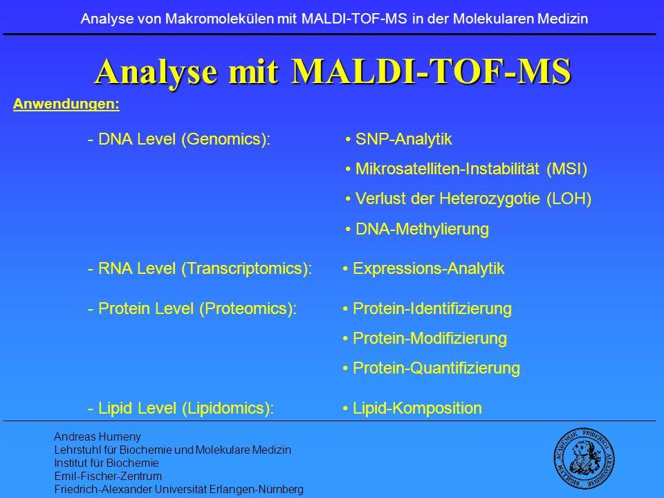 Andreas Humeny Lehrstuhl für Biochemie und Molekulare Medizin Institut für Biochemie Emil-Fischer-Zentrum Friedrich-Alexander Universität Erlangen-Nürnberg Etablierte MSI Testsysteme GART:A 10 – MikrosatellitChromosom 21q22.1 AC1: T 10 - Mikrosatellit Chromosom 4p16 TGFBRII: A 10 - MikrosatellitChromosom 3p22 MSH3: A 8 - MikrosatellitChromosom 5q11-q12 MSH6: C 8 - Mikrosatellit Chromosom 2p16 Analyse von Makromolekülen mit MALDI-TOF-MS in der Molekularen Medizin