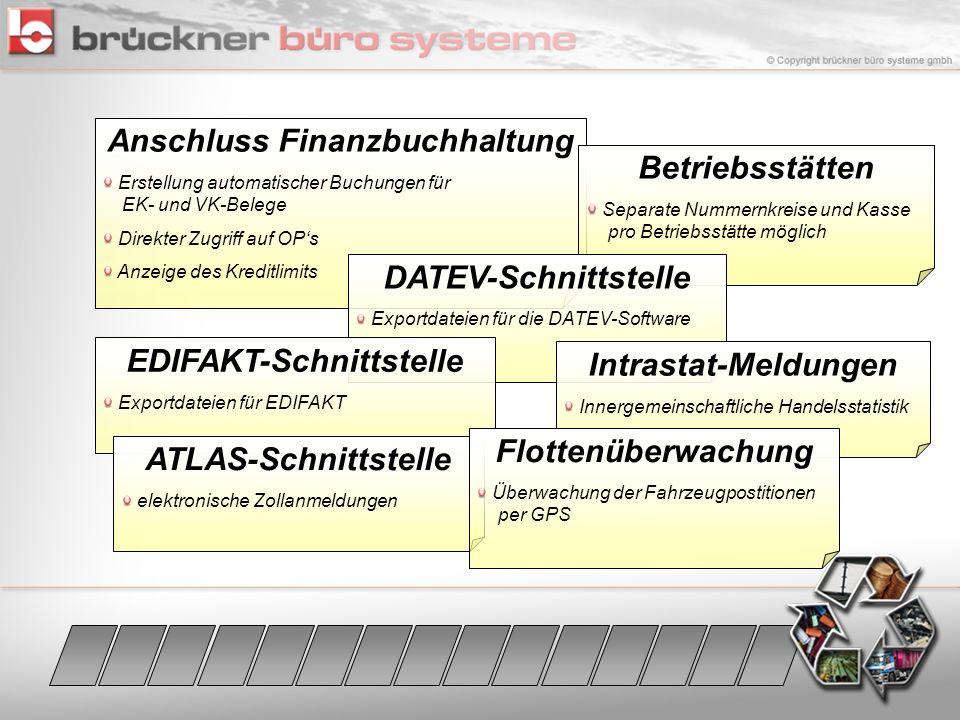 Anschluss Finanzbuchhaltung Erstellung automatischer Buchungen für EK- und VK-Belege Direkter Zugriff auf OPs Anzeige des Kreditlimits Betriebsstätten