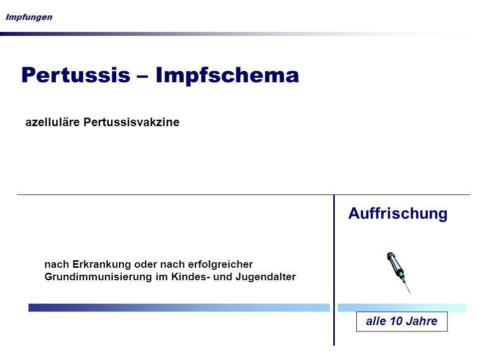 Pertussis – Impfschema Impfungen alle 10 Jahre Auffrischung azelluläre Pertussisvakzine nach Erkrankung oder nach erfolgreicher Grundimmunisierung im