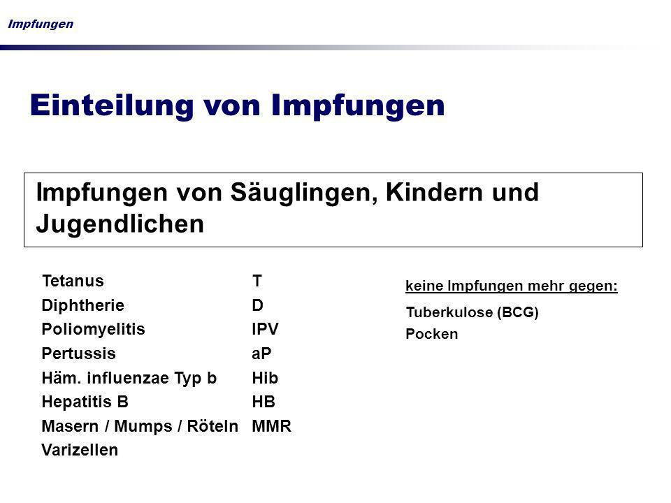 Impfungen Einteilung von Impfungen Impfungen von Säuglingen, Kindern und Jugendlichen Tetanus T Diphtherie D Poliomyelitis IPV Pertussis aP Häm. influ