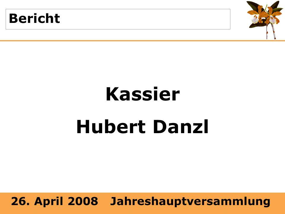 26. April 2008 Jahreshauptversammlung Bericht Kassier Hubert Danzl