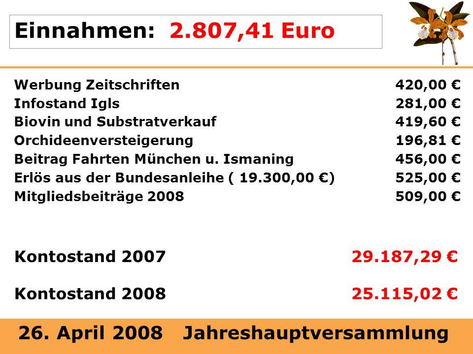 26. April 2008 Jahreshauptversammlung Einnahmen: 2.807,41 Euro Werbung Zeitschriften420,00 Infostand Igls281,00 Biovin und Substratverkauf419,60 Orchi
