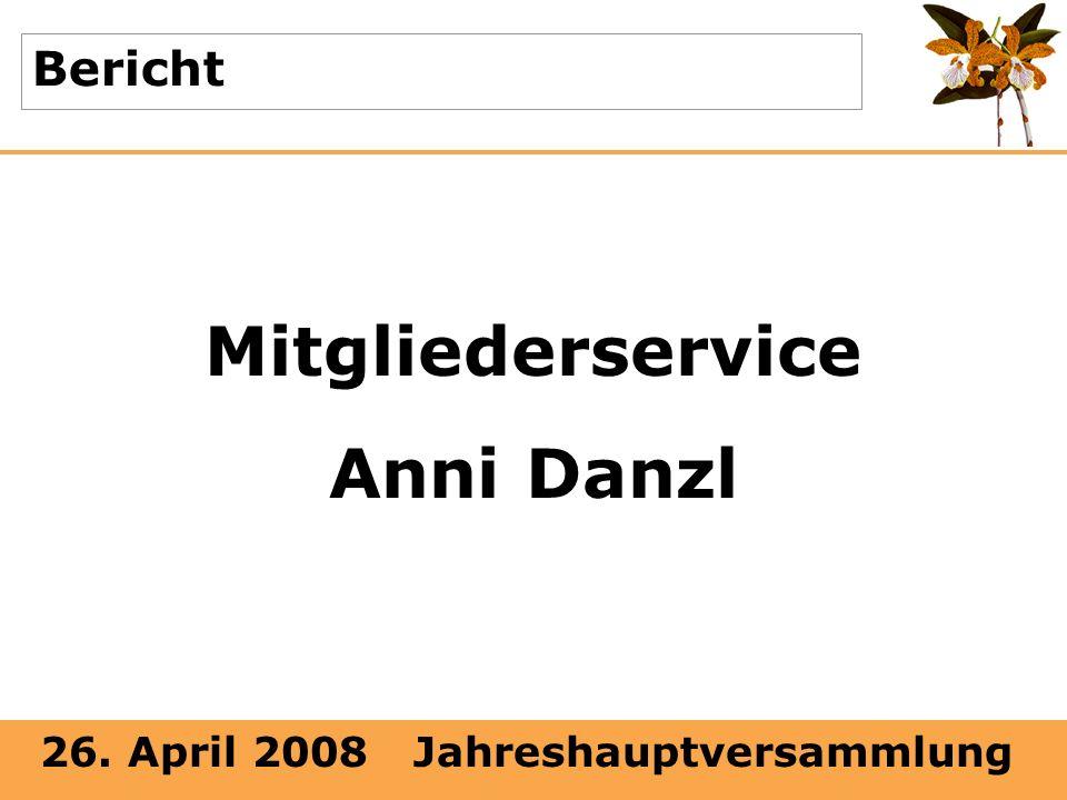 26. April 2008 Jahreshauptversammlung Bericht Mitgliederservice Anni Danzl