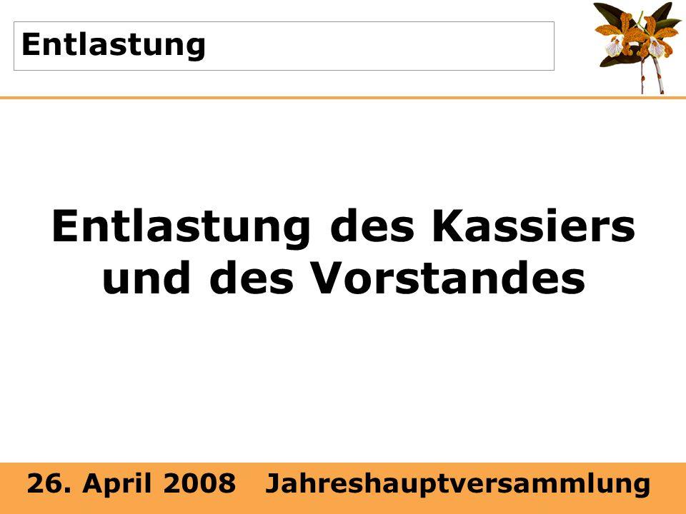 26. April 2008 Jahreshauptversammlung Entlastung Entlastung des Kassiers und des Vorstandes