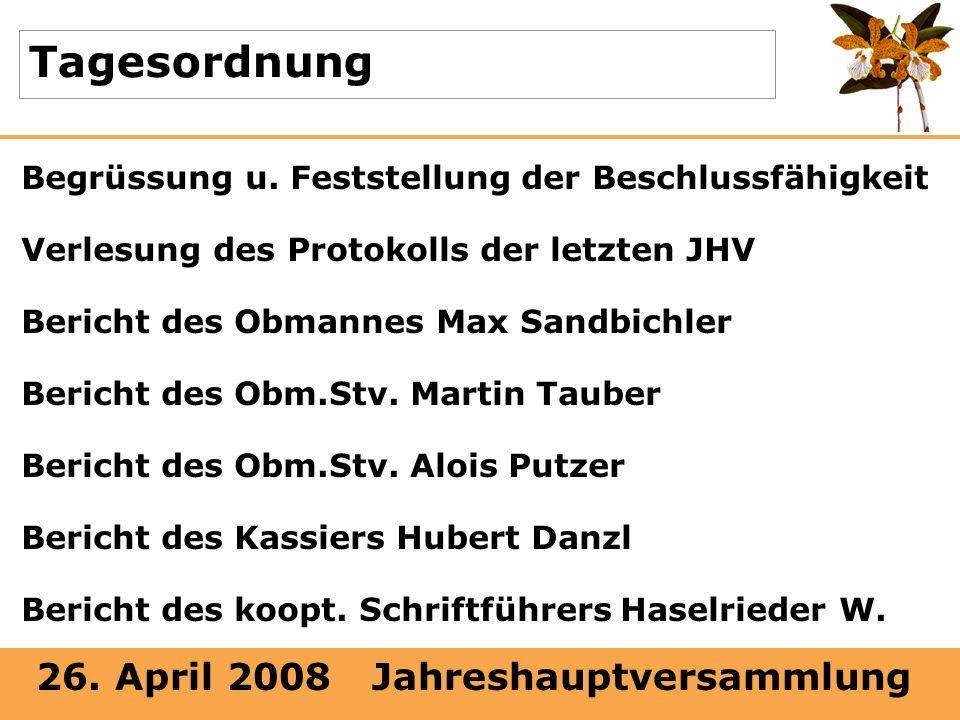 26. April 2008 Jahreshauptversammlung Tagesordnung Begrüssung u. Feststellung der Beschlussfähigkeit Verlesung des Protokolls der letzten JHV Bericht