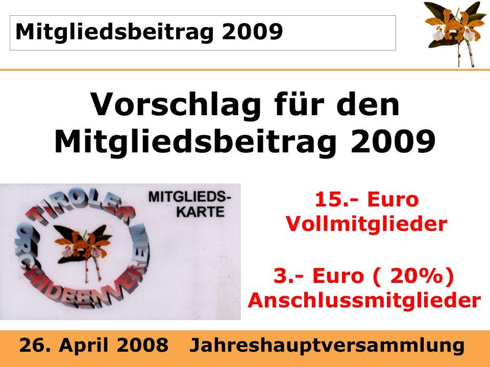 26. April 2008 Jahreshauptversammlung Mitgliedsbeitrag 2009 Vorschlag für den Mitgliedsbeitrag 2009 15.- Euro Vollmitglieder 3.- Euro ( 20%) Anschluss