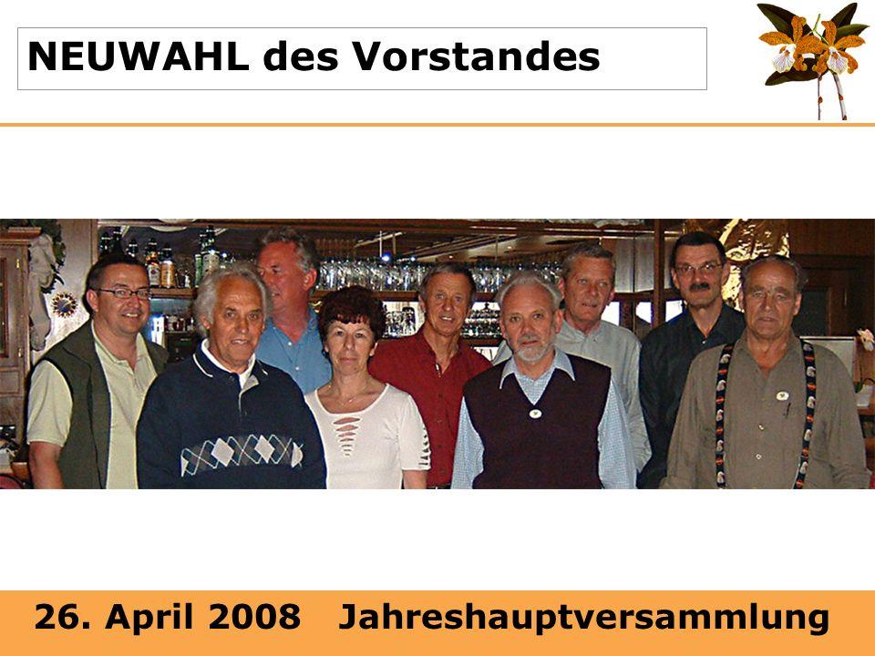 26. April 2008 Jahreshauptversammlung NEUWAHL des Vorstandes