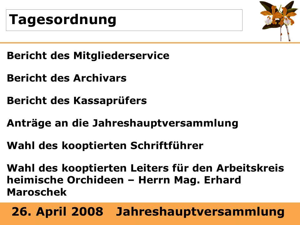 26. April 2008 Jahreshauptversammlung Tagesordnung Bericht des Mitgliederservice Bericht des Archivars Bericht des Kassaprüfers Anträge an die Jahresh