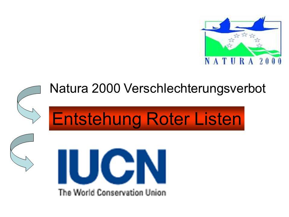 Natura 2000 Verschlechterungsverbot Entstehung Roter Listen