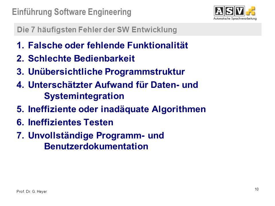 Einführung Software Engineering 10 Prof. Dr. G. Heyer Die 7 häufigsten Fehler der SW Entwicklung 1.Falsche oder fehlende Funktionalität 2.Schlechte Be