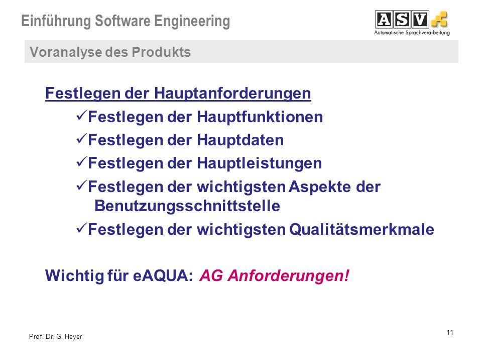 Einführung Software Engineering 11 Prof. Dr. G. Heyer Festlegen der Hauptanforderungen Festlegen der Hauptfunktionen Festlegen der Hauptdaten Festlege