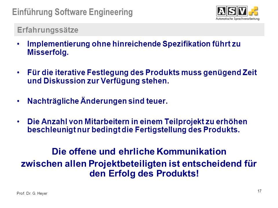 Einführung Software Engineering 17 Prof. Dr. G. Heyer Erfahrungssätze Implementierung ohne hinreichende Spezifikation führt zu Misserfolg. Für die ite