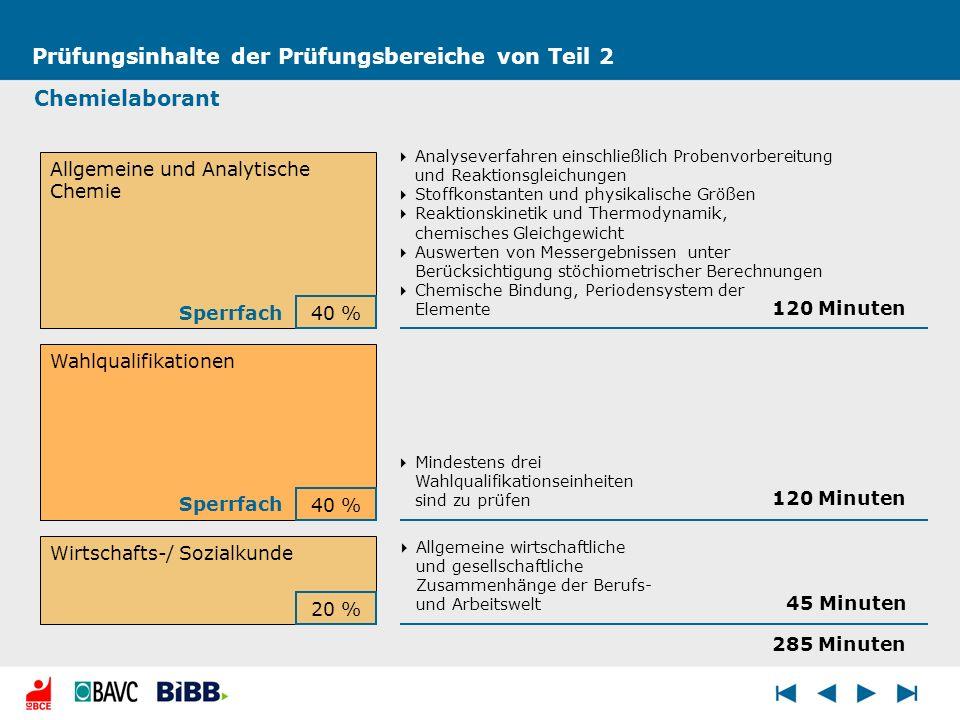 Prüfungsinhalte der Prüfungsbereiche von Teil 2 Chemielaborant Allgemeine und Analytische Chemie Wahlqualifikationen Wirtschafts-/ Sozialkunde 40 % 20