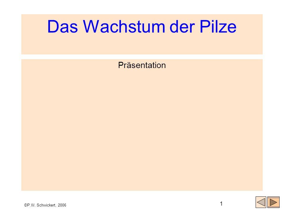 ©P.W. Schwickert, 2006 1 Das Wachstum der Pilze Präsentation