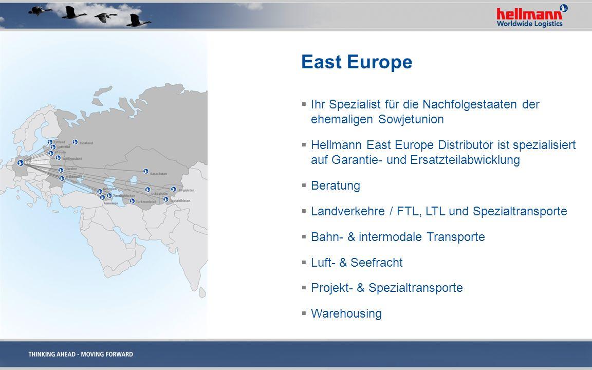 East Europe Ihr Spezialist für die Nachfolgestaaten der ehemaligen Sowjetunion Hellmann East Europe Distributor ist spezialisiert auf Garantie- und Er