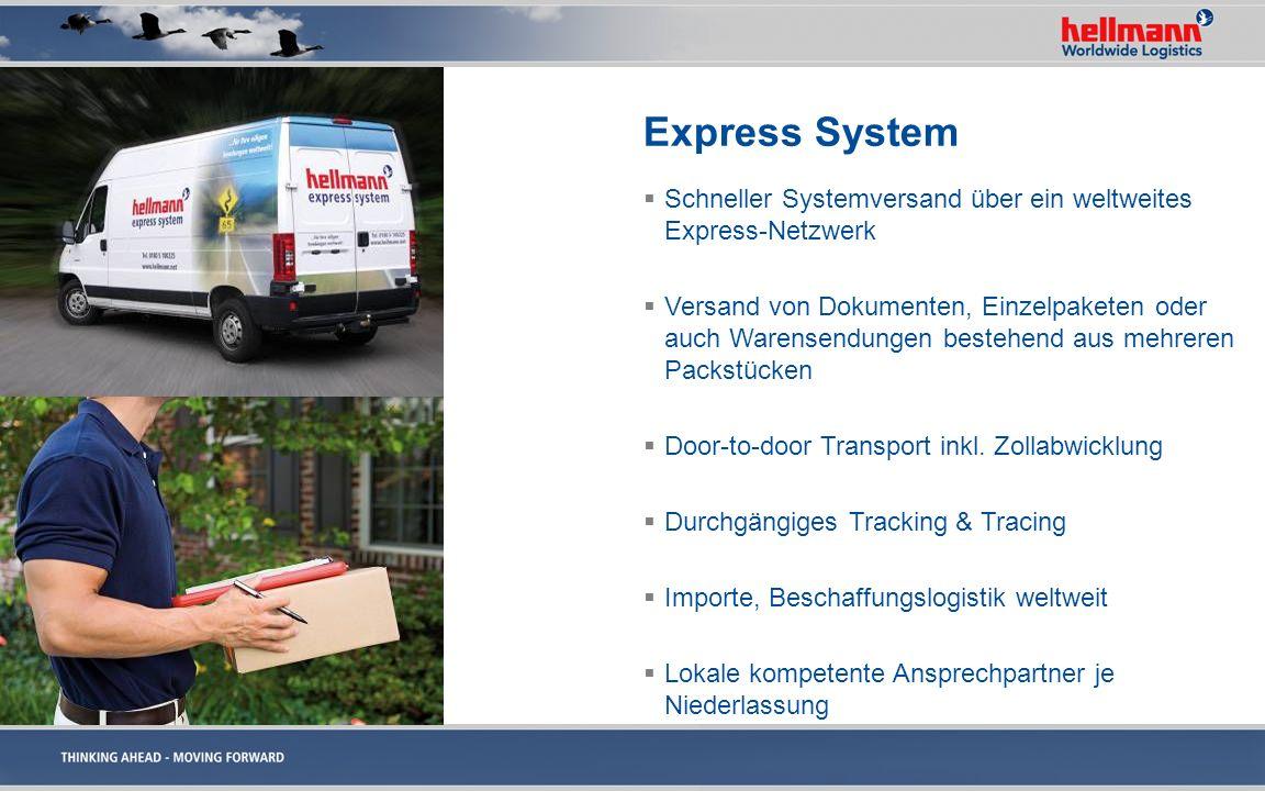Express System Schneller Systemversand über ein weltweites Express-Netzwerk Versand von Dokumenten, Einzelpaketen oder auch Warensendungen bestehend a