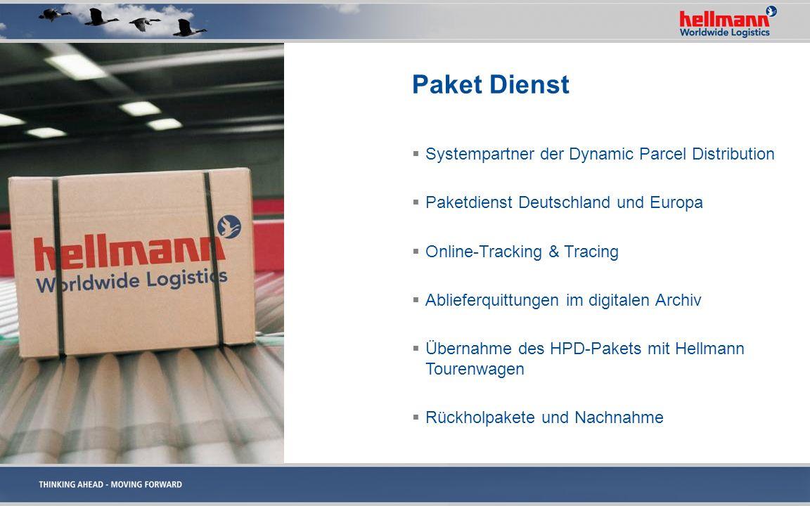 Paket Dienst Systempartner der Dynamic Parcel Distribution Paketdienst Deutschland und Europa Online-Tracking & Tracing Ablieferquittungen im digitale