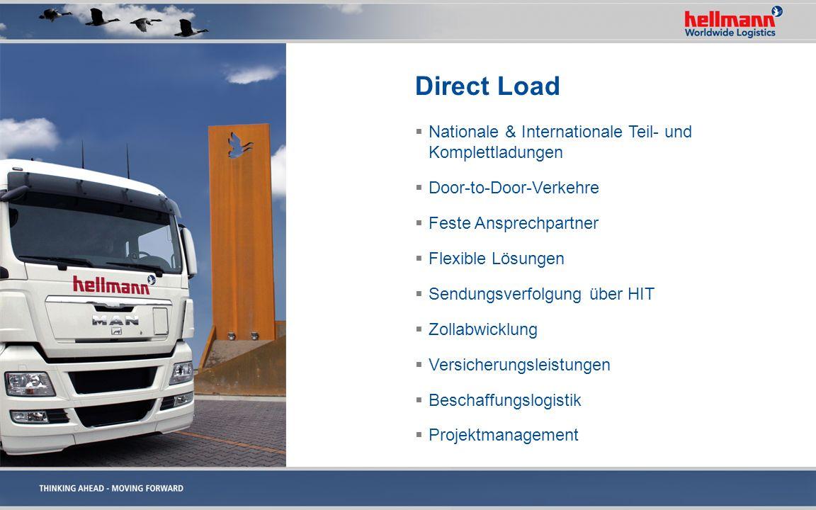 Direct Load Nationale & Internationale Teil- und Komplettladungen Door-to-Door-Verkehre Feste Ansprechpartner Flexible Lösungen Sendungsverfolgung übe