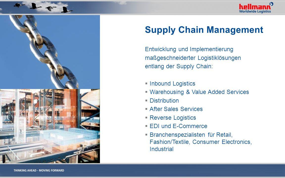 Supply Chain Management Entwicklung und Implementierung maßgeschneiderter Logistiklösungen entlang der Supply Chain: Inbound Logistics Warehousing & V