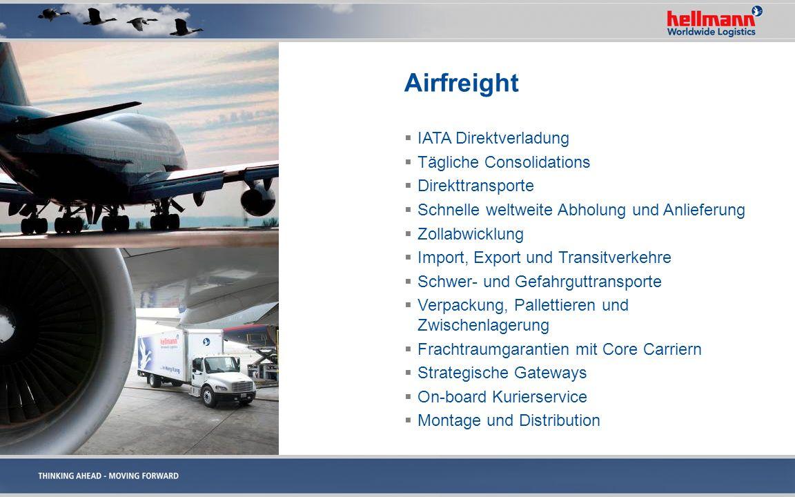 Airfreight IATA Direktverladung Tägliche Consolidations Direkttransporte Schnelle weltweite Abholung und Anlieferung Zollabwicklung Import, Export und