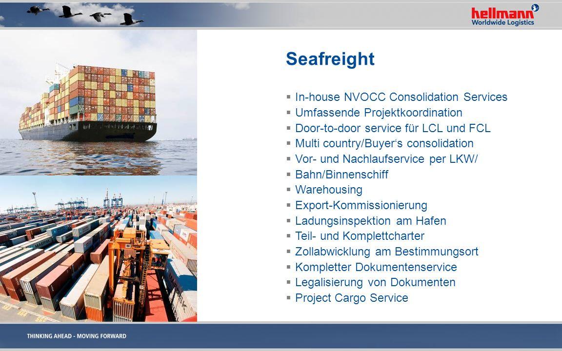 Seafreight In-house NVOCC Consolidation Services Umfassende Projektkoordination Door-to-door service für LCL und FCL Multi country/Buyers consolidatio