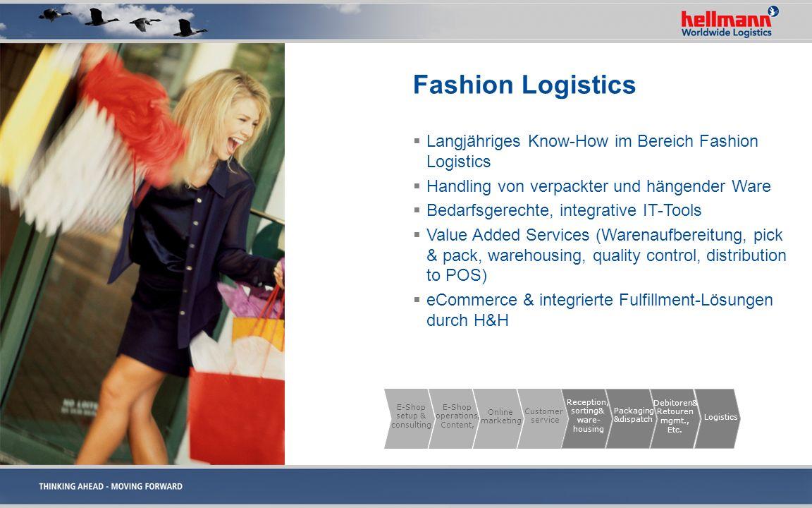 Fashion Logistics Langjähriges Know-How im Bereich Fashion Logistics Handling von verpackter und hängender Ware Bedarfsgerechte, integrative IT-Tools