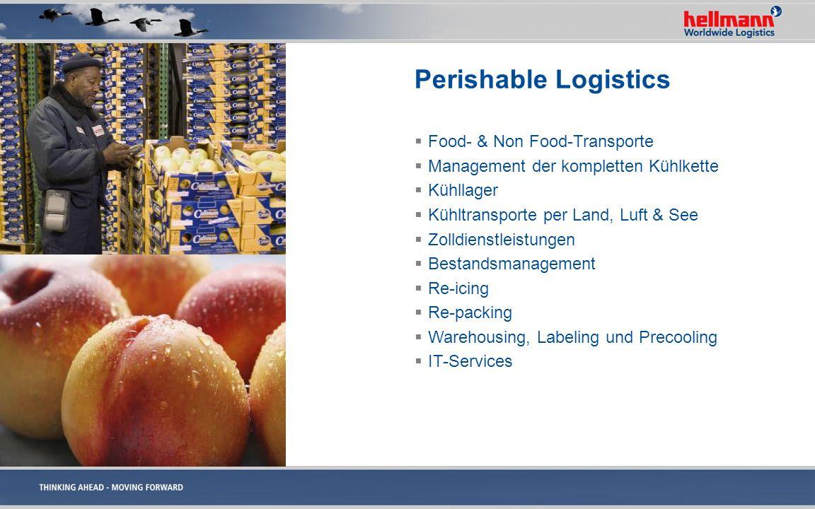 Perishable Logistics Food- & Non Food-Transporte Management der kompletten Kühlkette Kühllager Kühltransporte per Land, Luft & See Zolldienstleistunge