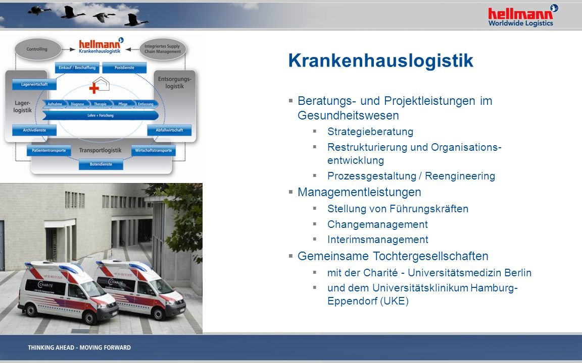 Krankenhauslogistik Beratungs- und Projektleistungen im Gesundheitswesen Strategieberatung Restrukturierung und Organisations- entwicklung Prozessgest