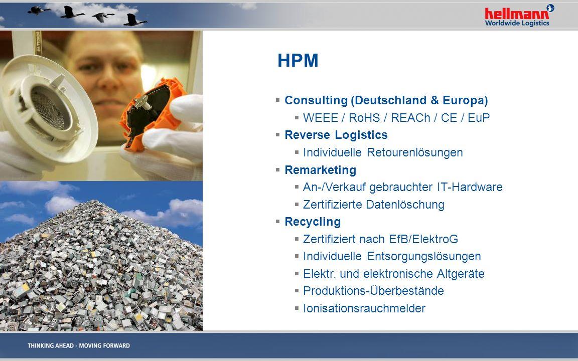 HPM Consulting (Deutschland & Europa) WEEE / RoHS / REACh / CE / EuP Reverse Logistics Individuelle Retourenlösungen Remarketing An-/Verkauf gebraucht