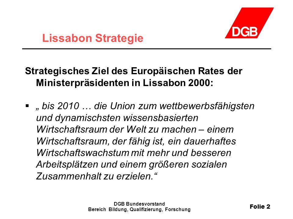 Folie 2 DGB Bundesvorstand Bereich Bildung, Qualifizierung, Forschung Lissabon Strategie Strategisches Ziel des Europäischen Rates der Ministerpräside