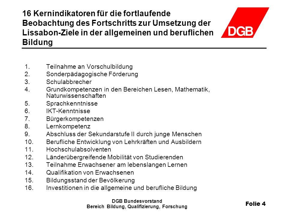 Folie 25 DGB Bundesvorstand Bereich Bildung, Qualifizierung, Forschung DQR Entwicklung – offene Fragen DQR – Status Quo Beschreibung oder Reformperspektive.